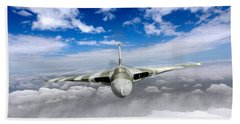 Hand Towel featuring the digital art Avro Vulcan Head On Above Clouds by Gary Eason