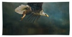 Bald Eagle Swooping Bath Towel