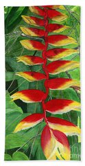 Bath Towel featuring the painting Balinese Heliconia Rostrata by Melly Terpening