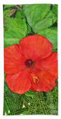 Bath Towel featuring the painting Balinese Hibiscus Rosa by Melly Terpening
