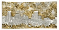 Bath Towel featuring the painting Baltimore Skyline Watercolor 13 by Bekim Art