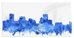 Bath Towel featuring the painting Baltimore Skyline Watercolor 7 by Bekim Art