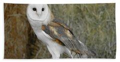 Barn Owl On Hay Bath Towel