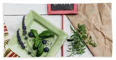 Hand Towel featuring the photograph Basil Still Life #2 by Rebecca Cozart