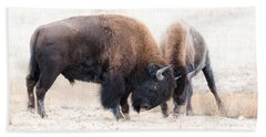 Battle Of The Bison In Rut Hand Towel by Yeates Photography