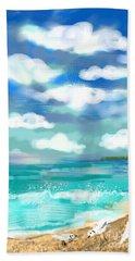Beach Birds Bath Towel by Elaine Lanoue