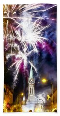 Hand Towel featuring the painting Beautiful Fireworks In Budapest Hungary by Odon Czintos