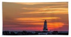Bath Towel featuring the photograph Beautiful Ludington Lighthouse Sunset by Adam Romanowicz