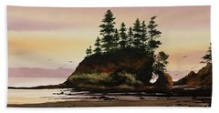 Hand Towel featuring the painting Beautiful Shore by James Williamson