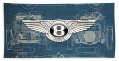 Bentley - 3 D Badge Over 1930 Bentley 4.5 Liter Blower Vintage Blueprint Hand Towel