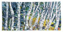 Bath Towel featuring the painting Birches Pond by AmaS Art