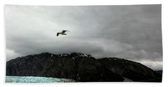 Hand Towel featuring the photograph Bird Over Glacier - Alaska by Madeline Ellis