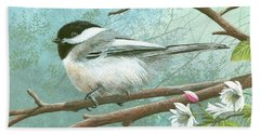 Black Cap Chickadee Bath Towel by Mike Brown
