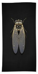 Black Cicada With Gold Accents On Black Canvas Bath Towel by Serge Averbukh