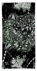 Black Flower Hand Towel
