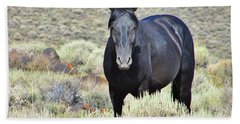 Hand Towel featuring the photograph Black Mustang by Marilyn Diaz