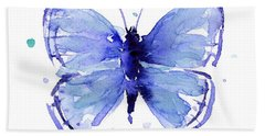 Blue Abstract Butterfly Bath Towel