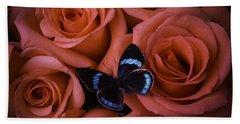 Blue Black Butterfly Bath Towel