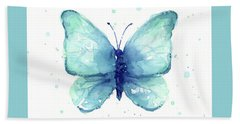 Blue Butterfly Watercolor Hand Towel