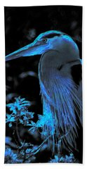Blue Heron Hand Towel by Lori Seaman