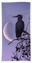 Blue Heron Moon Bath Towel