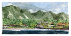 Bath Towel featuring the painting Blue Lagoon Bali Indonesia by Melly Terpening