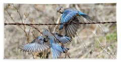 Bluebird Battle Hand Towel by Mike Dawson