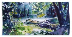 Hand Towel featuring the painting Boat by Kovacs Anna Brigitta