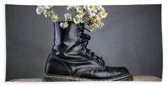 Boots With Daisy Flowers Hand Towel