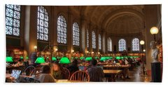 Hand Towel featuring the photograph Boston Public Library by Joann Vitali