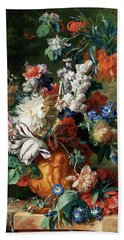 Bouquet Of Flowers In An Urn Bath Towel