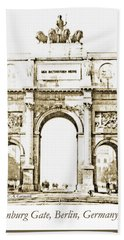Brandenburg Gate, Berlin Germany, 1903, Vintage Image Bath Towel