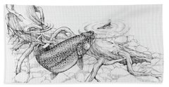Brown Trout Pencil Study Hand Towel