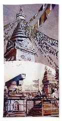 Hand Towel featuring the painting Buddhist Stupa- Nepal by Ryan Fox