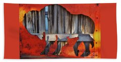 Wooden Buffalo 1 Bath Towel by Larry Campbell
