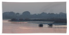 Hand Towel featuring the photograph Buffalos Crossing The Yamuna River by Jean luc Comperat