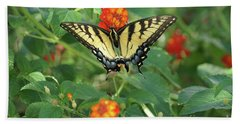 Butterfly And Flower Hand Towel by Debra Crank
