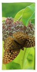 Butterfly On Wild Flower Hand Towel by Henri Irizarri