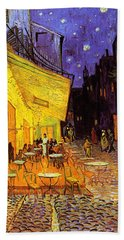 Bath Towel featuring the painting Cafe Terrace At Night by Van Gogh