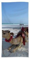 Camel On Beach Kenya Wedding Hand Towel