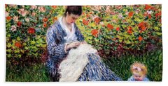 Camille Monet And A Child In The Artist's Garden In Argenteuil Hand Towel