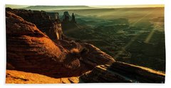 Bath Towel featuring the photograph Canyon Sunbeams by Kristal Kraft