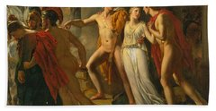 Bath Towel featuring the painting Castor And Pollux Rescuing Helen by Jean-Bruno Gassies