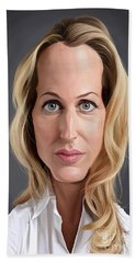 Celebrity Sunday - Gillian Anderson Hand Towel by Rob Snow
