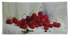 Hand Towel featuring the painting Cherries by Elena Oleniuc