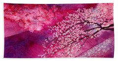 Bath Towel featuring the painting Cherry Blossoms by Hailey E Herrera