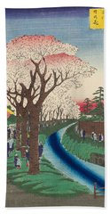 Cherry Blossoms On The Tama River Embankment Hand Towel