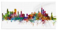 Chicago And New York City Skylines Mashup Hand Towel