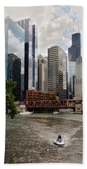Chicago River Jet Ski Hand Towel
