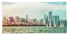Bath Towel featuring the photograph Chicago Skyline by Joel Witmeyer